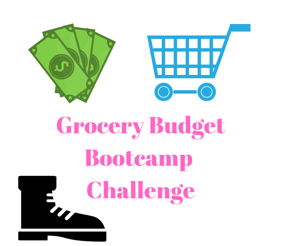 Grocery Budget Bootcamp shopping cart, cash & boot. Learn how to start saving on your groceries today!
